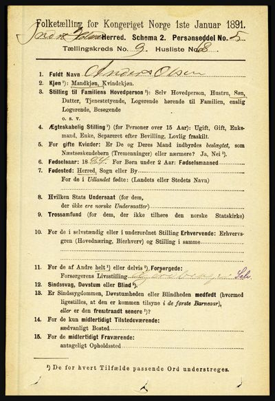 Image from object titled Folketelling 1891 - Indre Holmedal - personsedler - side 4492