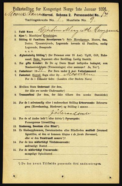 Image from object titled Folketelling 1891 - Mosvik og Verran - personsedler - side 143
