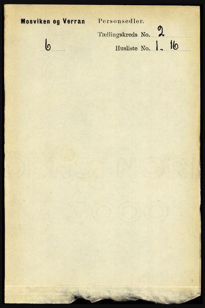 Image from object titled Folketelling 1891 - Mosvik og Verran - personsedler - side 486