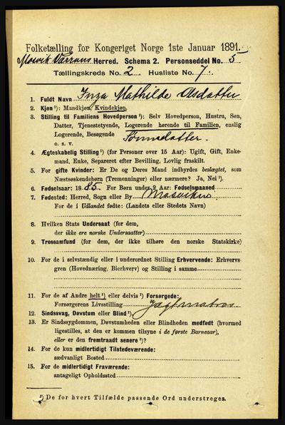 Image from object titled Folketelling 1891 - Mosvik og Verran - personsedler - side 546