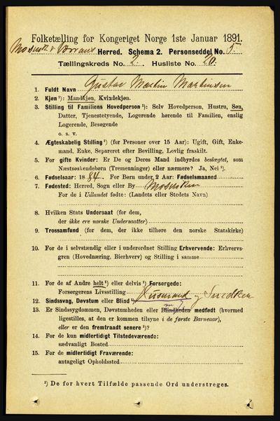 Image from object titled Folketelling 1891 - Mosvik og Verran - personsedler - side 627