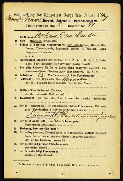 Image from object titled Folketelling 1891 - Mosvik og Verran - personsedler - side 739