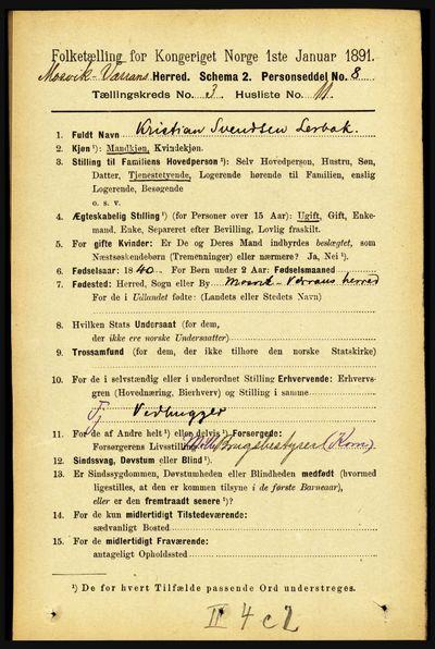 Image from object titled Folketelling 1891 - Mosvik og Verran - personsedler - side 992