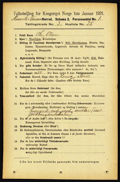 Image from object titled Folketelling 1891 - Mosvik og Verran - personsedler - side 1088
