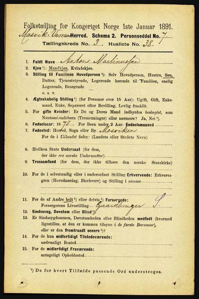 Image from object titled Folketelling 1891 - Mosvik og Verran - personsedler - side 1172
