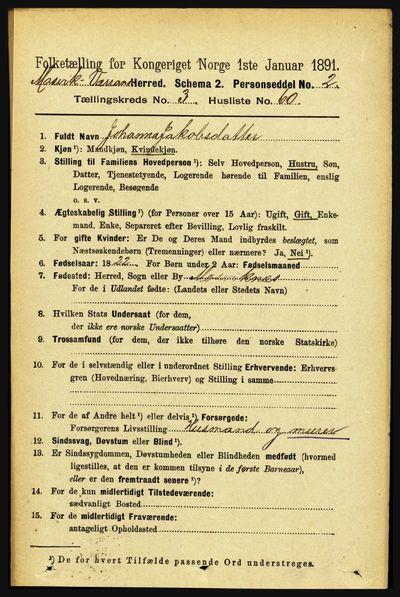 Image from object titled Folketelling 1891 - Mosvik og Verran - personsedler - side 1302