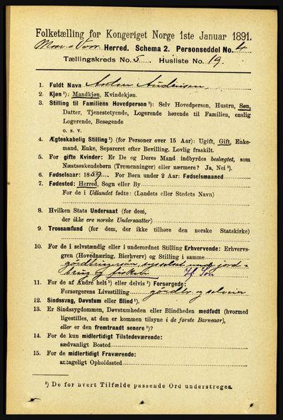 Image from object titled Folketelling 1891 - Mosvik og Verran - personsedler - side 2080
