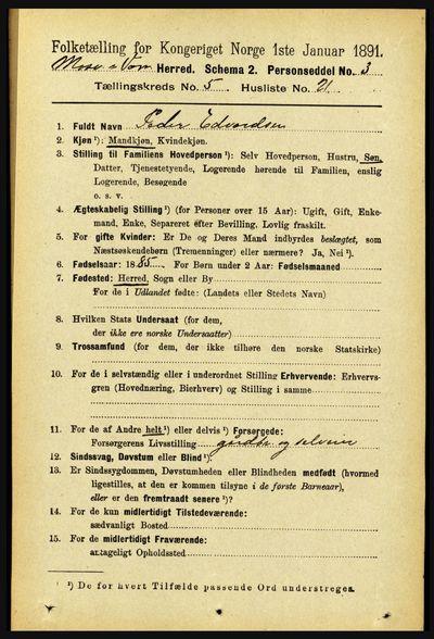 Image from object titled Folketelling 1891 - Mosvik og Verran - personsedler - side 2095