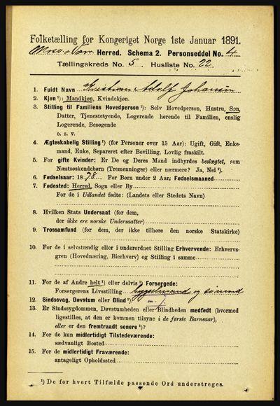 Image from object titled Folketelling 1891 - Mosvik og Verran - personsedler - side 2111
