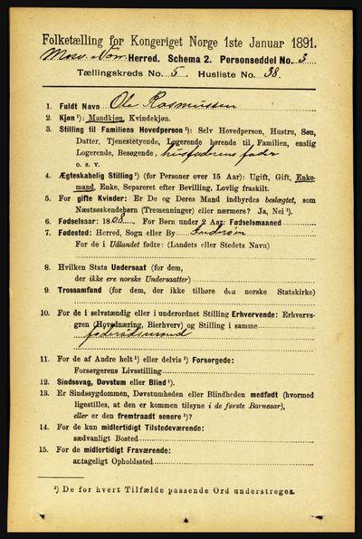 Image from object titled Folketelling 1891 - Mosvik og Verran - personsedler - side 2224