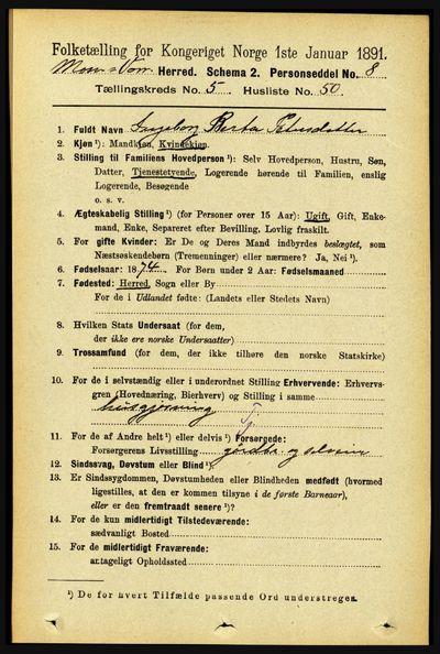 Image from object titled Folketelling 1891 - Mosvik og Verran - personsedler - side 2304