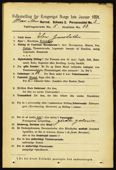 Image from object titled Folketelling 1891 - Mosvik og Verran - personsedler - side 2322