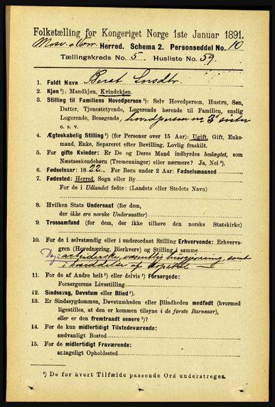 Image from object titled Folketelling 1891 - Mosvik og Verran - personsedler - side 2370