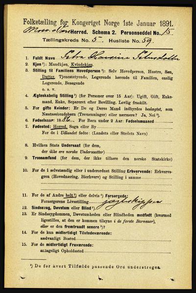 Image from object titled Folketelling 1891 - Mosvik og Verran - personsedler - side 2375