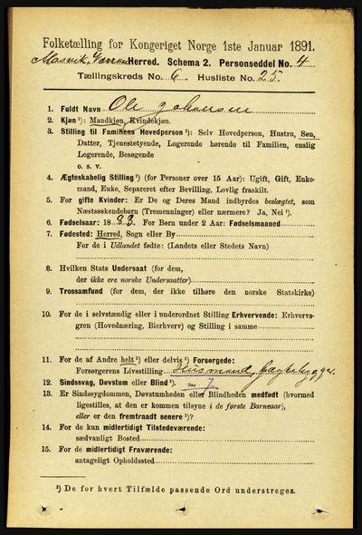 Image from object titled Folketelling 1891 - Mosvik og Verran - personsedler - side 2646