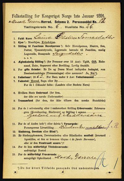 Image from object titled Folketelling 1891 - Mosvik og Verran - personsedler - side 2661