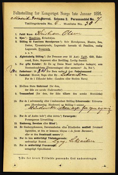 Image from object titled Folketelling 1891 - Mosvik og Verran - personsedler - side 2686