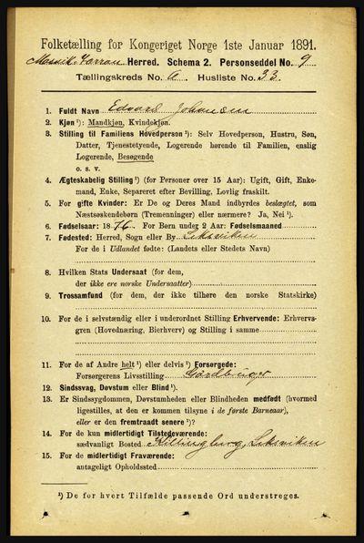 Image from object titled Folketelling 1891 - Mosvik og Verran - personsedler - side 2711
