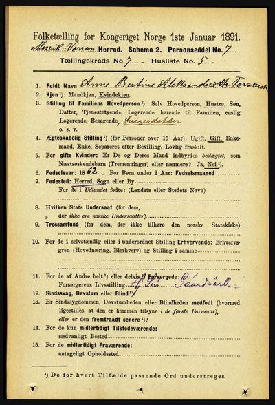 Image from object titled Folketelling 1891 - Mosvik og Verran - personsedler - side 2924