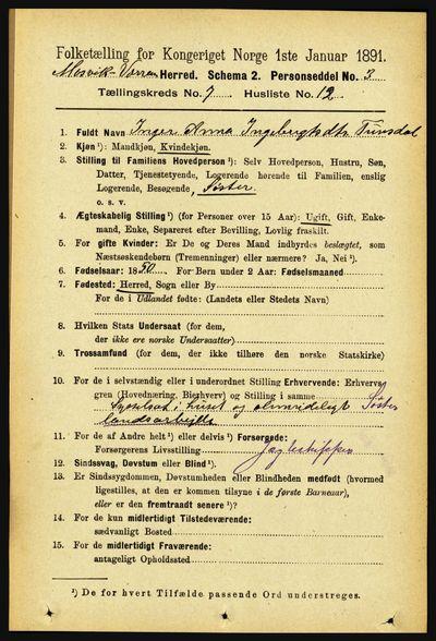 Image from object titled Folketelling 1891 - Mosvik og Verran - personsedler - side 2978