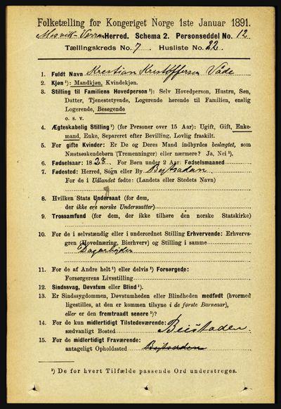 Image from object titled Folketelling 1891 - Mosvik og Verran - personsedler - side 3070