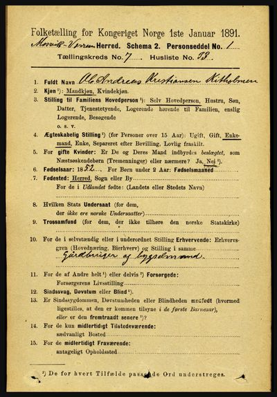 Image from object titled Folketelling 1891 - Mosvik og Verran - personsedler - side 3135