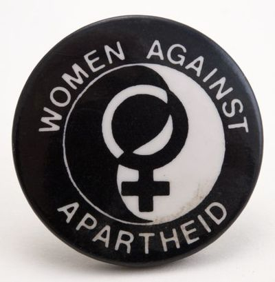 Image from object titled Button. Women against apartheid