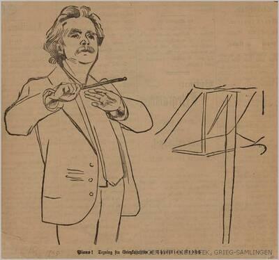 Piano! Tegning fra Griegkoncerten : [Edvard Grieg dirigerer. Avistegning 14.10 1895]