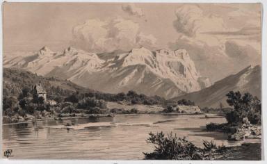 Blick von Norden auf das Tennengebirge mit Salzach