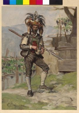 Ein Saltner (Weinhüter) bei Meran