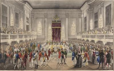 Image from object titled Feierliche Tafel im Großen Redoutensaal anlässlich der Vermählung von Kaiser Franz II./I. und Prinzessin Karoline Auguste von Bayern am 10. November 1816