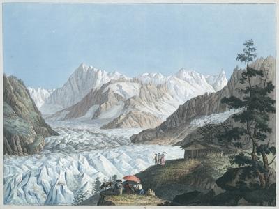 Vue de la Mer de Glace et de l'Hopital de Blair du Sommet du Montanvert dans le mois d'Aoust 1781
