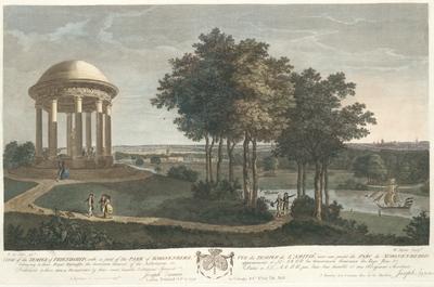 View of the Temple of Friendship, with a part of the Park of Scoonenberg, belonging to their Royal Highnesses the governors General of the Netherlands, &c. Vue du Temple de l'Amitié, avec une partie du Parc de Scoonenbergh...