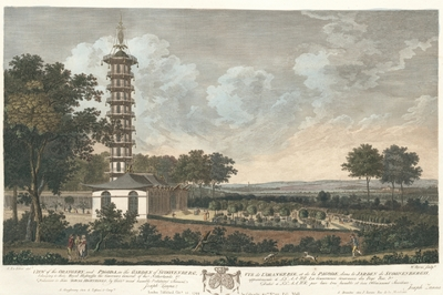 View of the Orangery, and Pagoda, in the Garden of Scoonenbergh belonging to their Royal Highnesses the Governors General of the Netherlands. Vue de l'Orangerie, et de la Pagode, dans le Jardin de Scoonenbergh,...