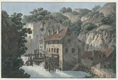 Vue d'un Moulin à Boetzingen ou Bouiean, l'un des quatre Villages de la jurisdiction de Bienne à une lieue de cette Ville