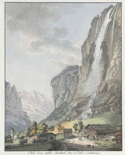 Chute d'eau apellée Staubbach dans la Vallée Louterbrunnen