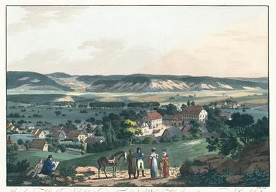 Ansicht von Altrolau und Carlsbad aus der Ferne. Vue d'Altrolau et le prospect de Carlsbad