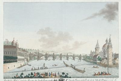 Ansicht des Flusses, und der Brücke der Stadt Prag von der schmalen Nord West Seiten der kleinen Insel Venedig anzusehen. Vue du fleuve, et du Ponte de la ville de Prague a voir de la pointe Nord-Ovest de la petitte Isle...