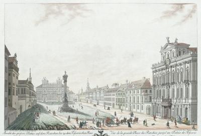 Ansicht des grossen Platzes auf dem Ratschin bis zu dem Toscanischen Haus. Vue de la grande Place du Ratschin jusqu'au Palais de Toscane