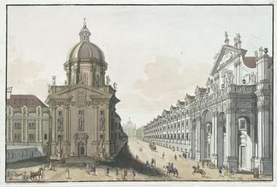Prospeckt der Kreitzherrn Kirche, nebst dem Jesuitten Collegium in Prag