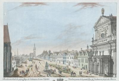 Ansicht eine theils des grossen Platzes des Viechmarckes bis zum Neustädter Rathaus. Vue d'une partie de la grande Place du Viehmarck jusqu'a la Maison de la Villeneuve