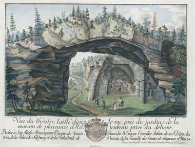 Image from object titled Vue du théatre taillé dans le roc, près du jardins de la maison de plaisance d'Hellenbrunn (!) pris du dehors.