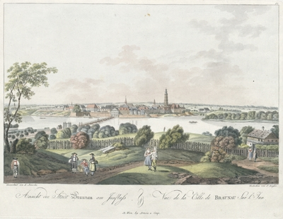 Image from object titled Ansicht der Stadt Braunau am Innfluss. Vue de la Ville de Braunau sur l'Inn.