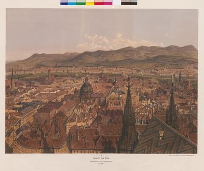 Image from object titled Ansicht von Wien aufgenommen von St. Stephansthurme. [Blick in Richtung Josefstadt und Alsergrund, im Hintergrund Kahlen- und Leopoldsberg]