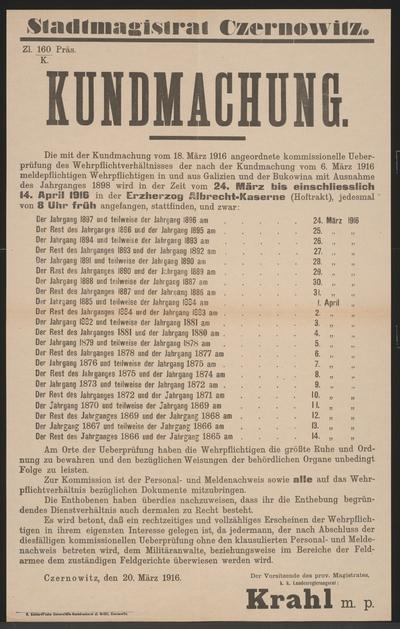 Image from object titled Überprüfung der Wehrpflichtverhältnisse - Kundmachung - Czernowitz