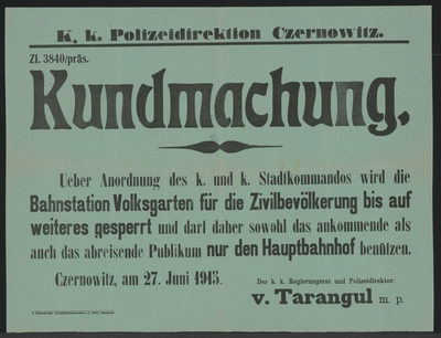 Image from object titled Sperrung der Bahnstation Volksgarten - Kundmachung - Czernowitz