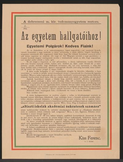 Image from object titled An die Hörer der Universität ! - Debrezin - In ungarischer Sprache