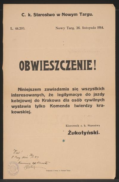 Legitimationsscheine Kundmachung Neumarkt In Polnischer