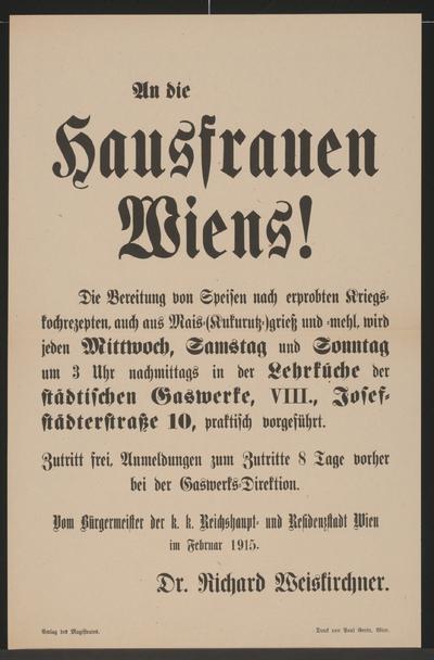Image from object titled An die Hausfrauen Wiens! - Wien