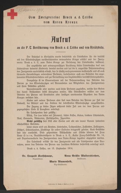 Image from object titled Aufruf an die P. T. Bevölkerung von Bruck an der Leitha und von Királyhida - Rotes Kreuz
